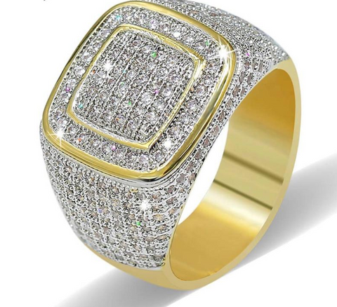 18K Gold Plated Cubic Zirconia Iced Out Ring for Men, Hip Hop Bling Bling Ring for Men