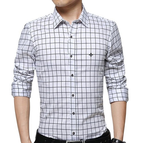 Full Sleeves Plaid Shirts for Men, Slim Fit Casual Cotton Shirt