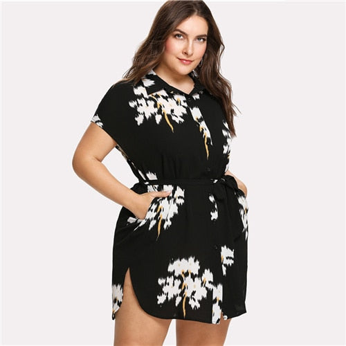 Plus Size Clothing-Plus Size Dress with Floral Prints-Rudiment Sellers