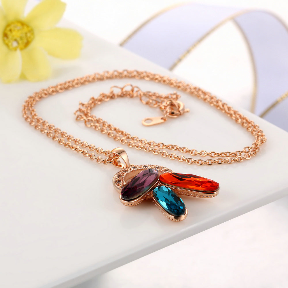 Multicolor Long Oval Cubic Zirconia Necklaces & Pendants, Rose Gold Color Chain For Women