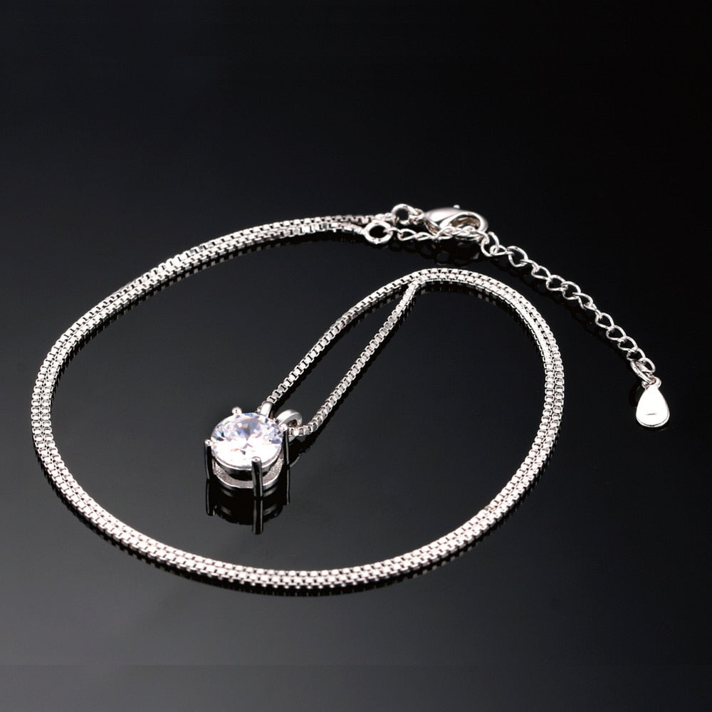 4-Claw Silver Color OL Style Cubic Zirconia Necklace For Women Jewelry