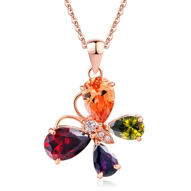 Butterfly Crystal Rose Gold Pated Necklaces For Women