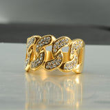 Hip Hop Micro Pave Rhinestone Stainless Steel Gold Rings for Men