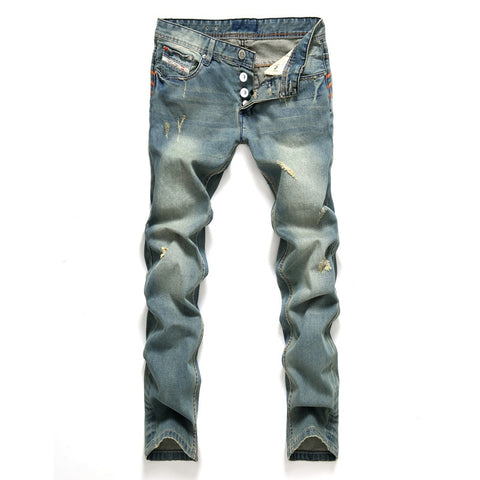 Blue Color Ripped Cotton Jeans For Men, Classic Biker Denim Jeans for Men