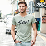 New  Letter Print 100% Cotton T-shirt For Men's , Short Sleeve Slim Fit Tshirt