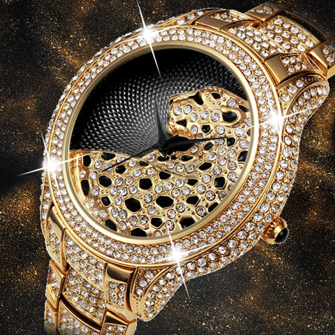Luxury Iced Out Diamond Watch with Tiger for Men