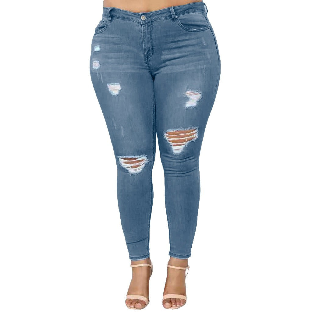 Plus Size Clothing | Plus Size Ripped Slim-Fit Jeans- Rudiment Sellers