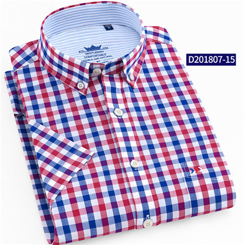 Cotton Plaid Summer Shirt for Men, Casual Check Shirt for Men