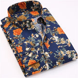 Retro Floral Printed Casual Shirts for Men, Full Sleeve Printed Shirt