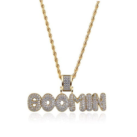 24K Gold Plated BOOMIN Pendant with 24 Inches Rope Chain, Iced Out Bling Bling Pendant