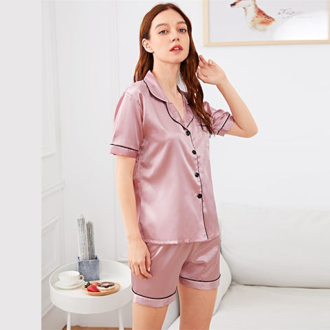Casual Pink Satin Shirts and Shorts Nightdress for Women, Elegant Short Sleeve Sleepwear Set