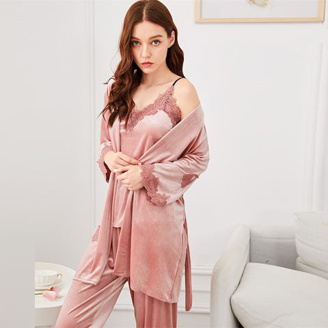 Satin Cami Night Suit Set With 3/4 Sleeve Belted Robe, Pink Sleepwear Sets