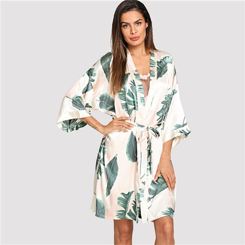 Tropical Print Half Sleeves Night Dress with Belted Robe for Women, Satin Dressing Gown