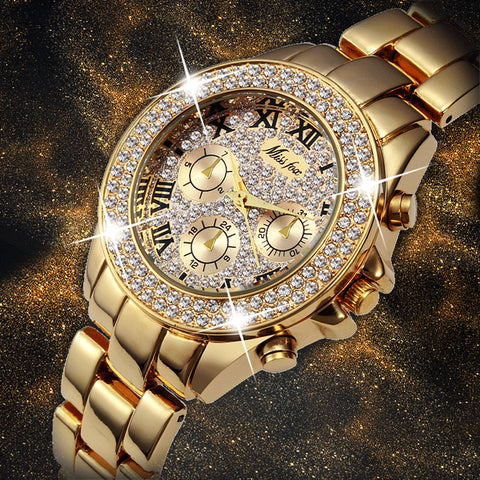 Luxury Roman Gold Chronograph Iced Out Wrist Watch fro Women