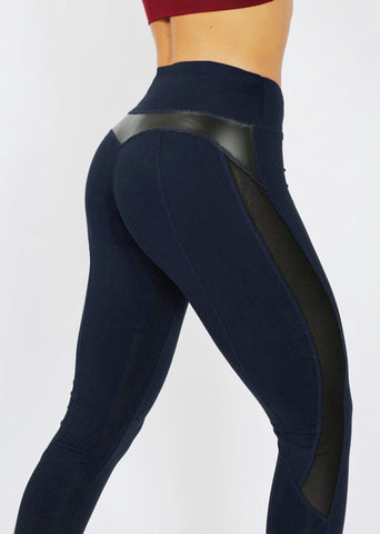 High Waist Workout Legging for Women with Fashion Mesh and Leather Patchwork