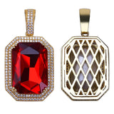 18K Gold Plated Vintage Cubic Zirconia Ruby Pendant with Necklace, Iced Out Hip Hop Pendant