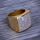 Hip Hop 18k Gold Square Rings For Men, Micro Pave Cubic Zirconia Rings For Mens