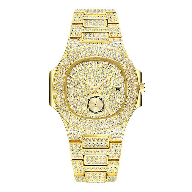 18K Gold Plated Iced Out Chronograph Wrist Watch for Men