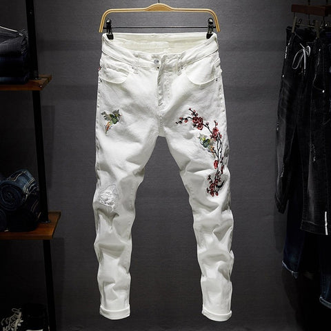 Ripped Biker Slim Jeans for Men, Frayed Embroidered Denim Trousers for Men
