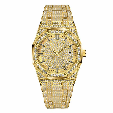 41MM/18K Gold Plated Iced Out Diamond Quartz Wrist Watch for Men