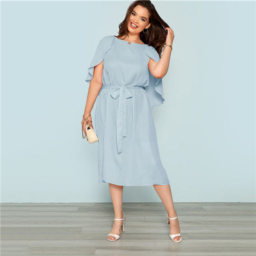 Plus Size Clothing-Plus Size Solid Casual Midi Dress- Rudiment Sellers