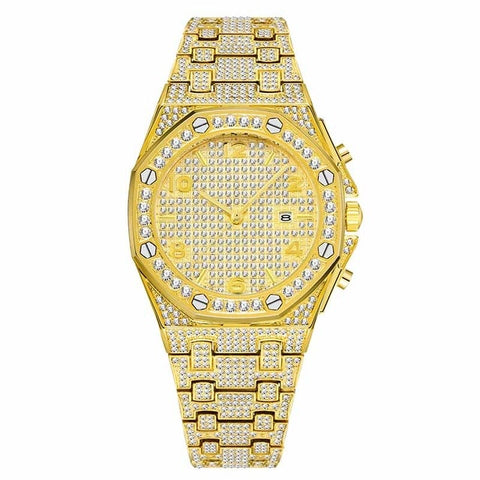 Unique Arabic Design Iced Out Diamond Chronograph Watch