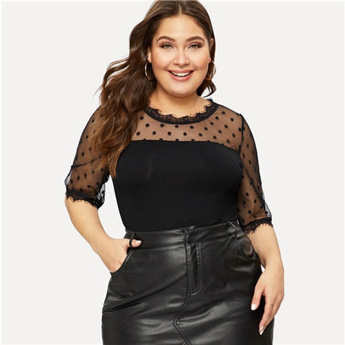 Plus Size Top- Polka Dot Plus Size T-shirt for Women- Rudiment Sellers