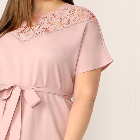 Plus Size Clothing-Plus Size Dress- Solid Pink Dress- Rudiment Sellers