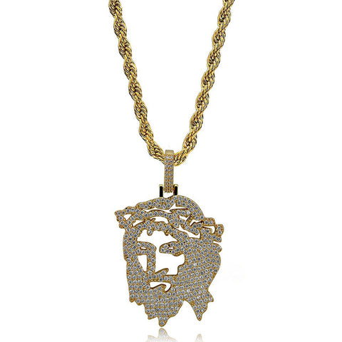 18K Gold Jesus Pendant with 18 Inches Rope Chain, Iced Out Jesus Pendant