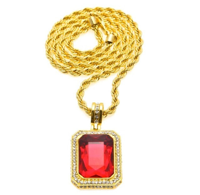 Men's Trendy Iced Out Hip Hop Pendant Necklace, Red Big Square Stone Pendant With Thick Rope Chain