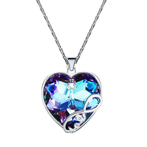 925 Sterling Silver Heart Shaped Crystal Pendant with Water-wave Chain