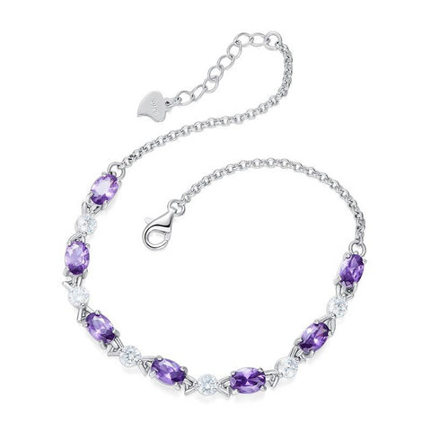 925 Sterling Silver Charm Bracelet studded with Purple crystals