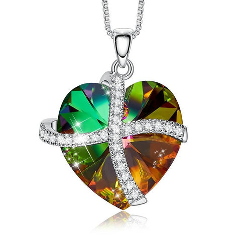 Heart Shaped Volcanic Rhinestone Pendant with Link Chain