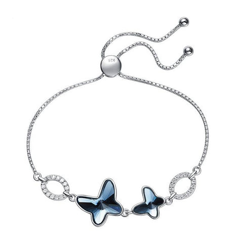 925 Sterling Silver Butterfly Charm Bracelet with studded crystals