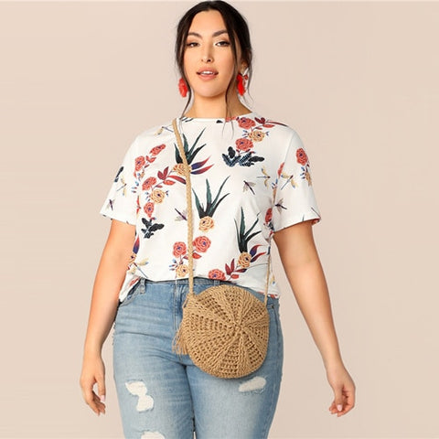 Plus Size Top | White Floral Prints Round-Neck Top | Rudiment Sellers