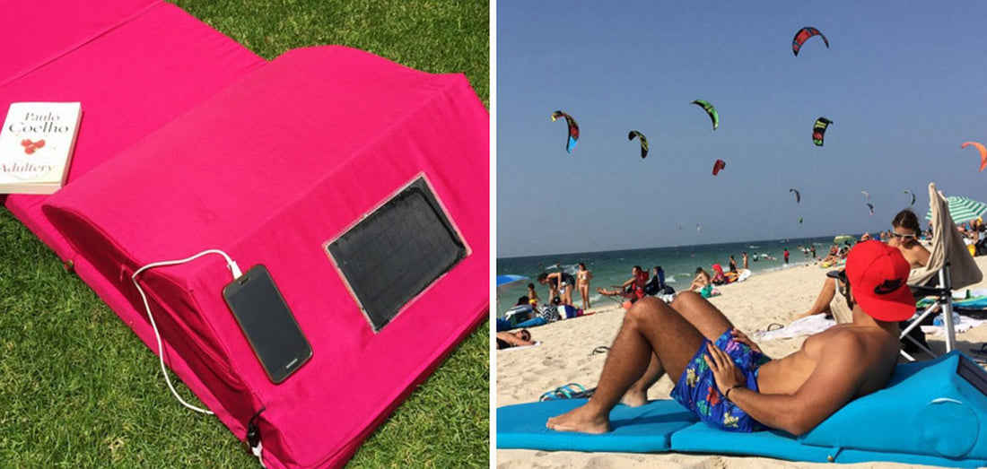 Solar-Powered Beach Mat That Charges Your Phone & Keeps Drinks Cold