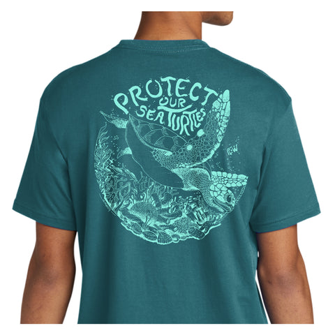 Protect Our Sea Turtles - Teal T-shirt