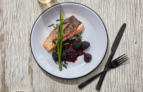 Salmon with Crushed Blackberries and Seaweed