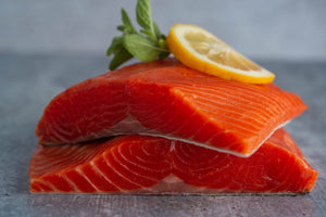 SALMON PORTIONS •  $17.99/lb - $19.99/lb (TESTING PARTIALLY)
