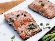 Load image into Gallery viewer, SALMON PORTIONS 20 LB CASE  •  $17.99/lb