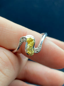 Natural Gold Nugget 9ct White Gold S with Diamonds Ring