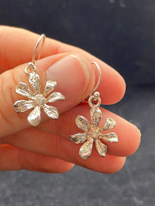 Stirling Silver Diamond Flower Earrings.