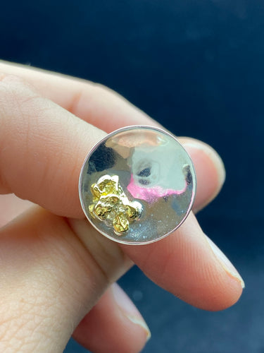 Natural Gold Nugget & Stirling Silver Pan Ring