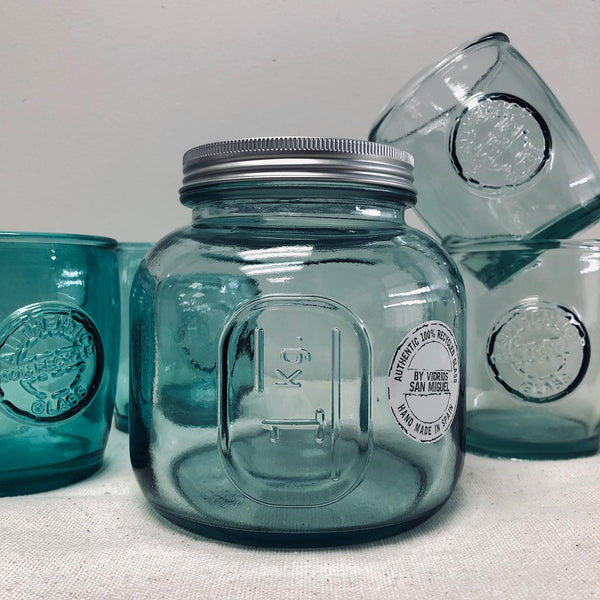 Spanish Recycled Glass Jar-Jars-Flippin'Treasures