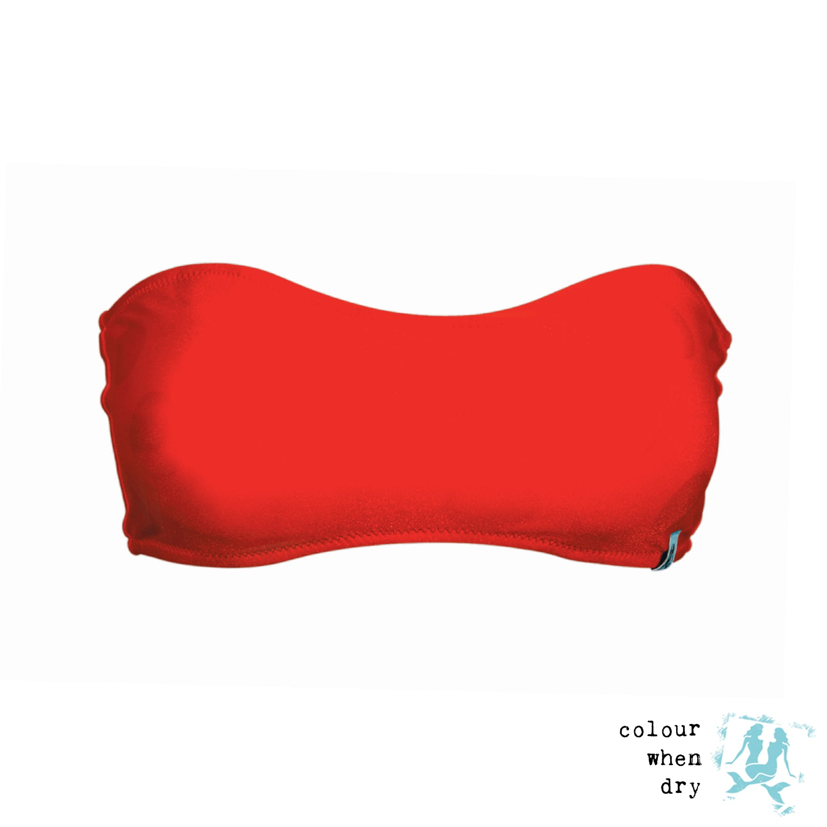 A red strapless bandeau bikini top made by Mermaid In England. All Mermaid In England's swimwear is ethically handmade in Britain. When this red bikini gets wet, a black polka dot pattern appears on the swimwear. We call is colour change swimwear. It's the magic of each design at Mermaid in England.