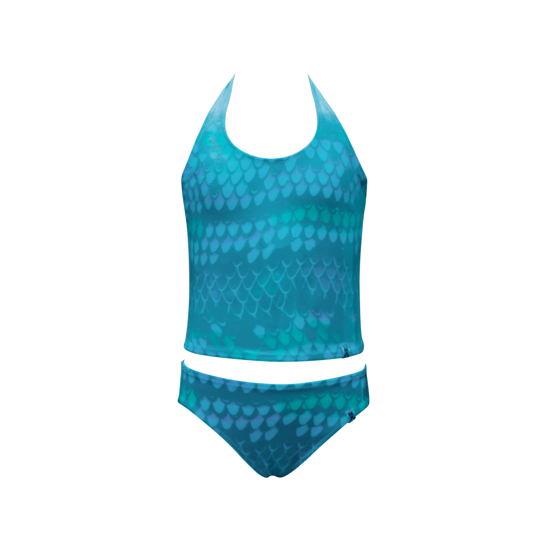 This is an aqua blue tankini for girls with a halter neck top and plain brief bottom. This image shows the swimwear when it is wet as a hidden pattern of what look like scales on a mermaids tail is revealed when in water.