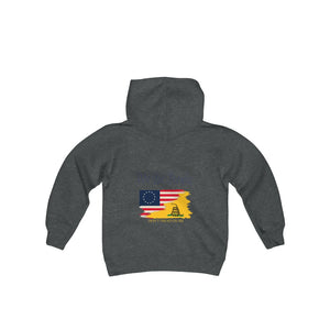 2 SIDED Youth Heavy Blend Hooded Sweatshirt - 12 COLOR -  FOUNDING FATHERS