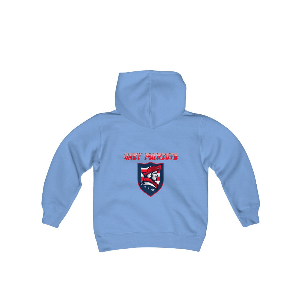 2 SIDED Youth Heavy Blend Hooded Sweatshirt - 12 COLOR - GREY PATRIOTS