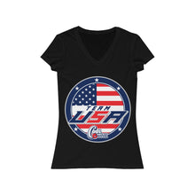 Women's Jersey Short Sleeve V-Neck Tee - USA 2 (7 colors available)