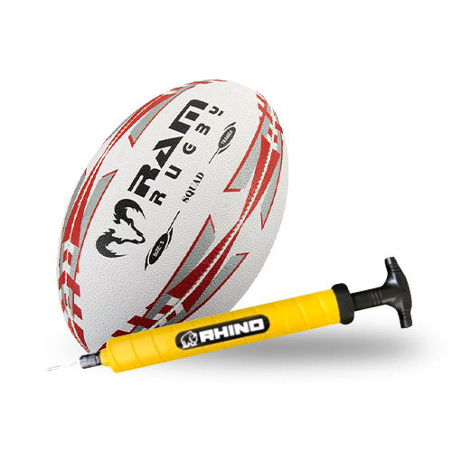 RAM Rugby Ball & Ball Pump Bundle